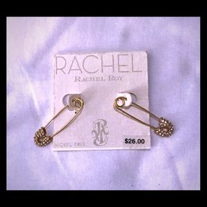NWT Rachel Roy Safety Pin Earrings, Nickel Free